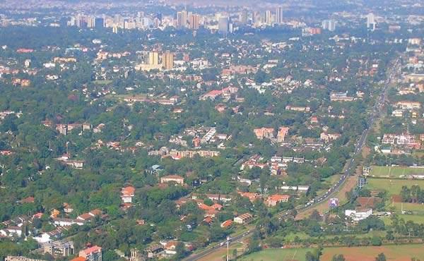 Arial view of Nairobi and Ngong Road