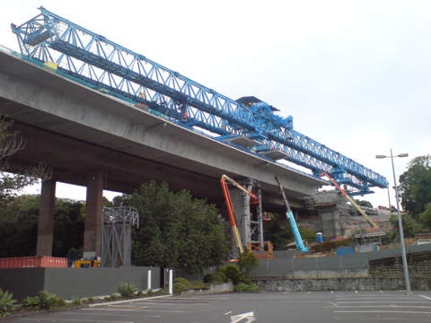 The half-finished southbound viaduct, looking west from the Farmers car park.