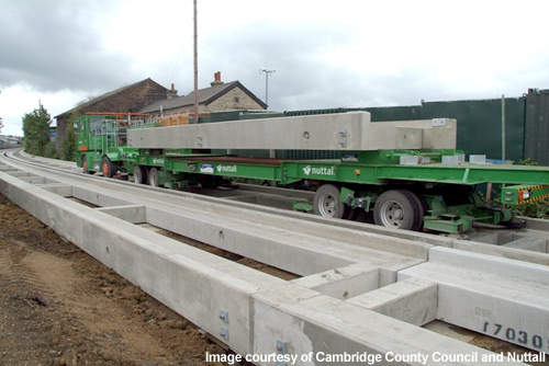 In order to provide enough pre-casting concrete for the Cambridgshre Guided Busway project, lead contractor Nuttall set up a pre-casting facility at Longstanton, halfway along the busway route.