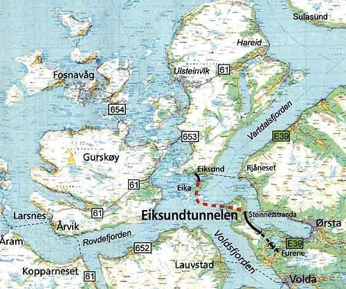 Eiksund Undersea Tunnel Verdict Traffic - Norway highway map
