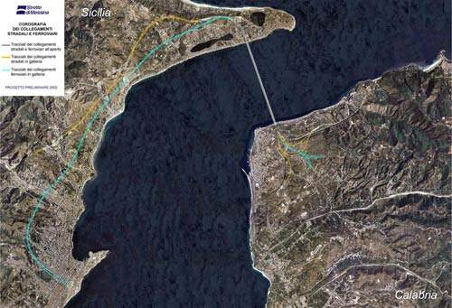 Satellite image of where the bridge will be constructed across the Straits of Messina.