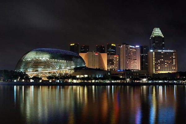 A night view of the Marina Bay.