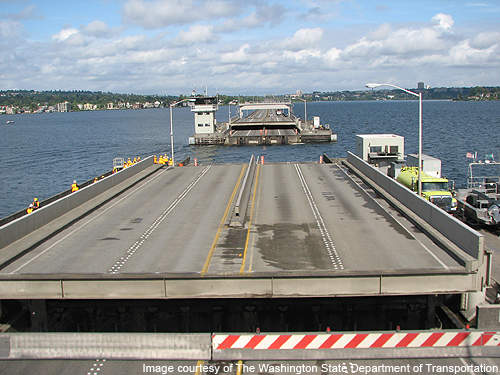 Testing draw span of the floating bridge.