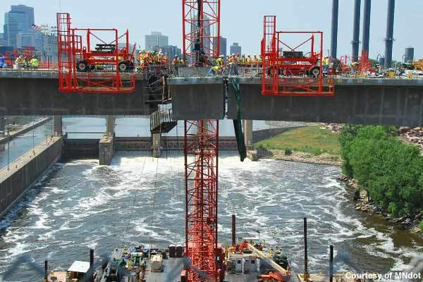 The St Anthony Falls Bridge was completed ahead of schedule.