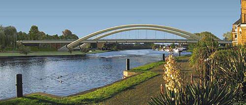 Walton Bridge crosses the River Thames, connecting Shepperton and Walton.
