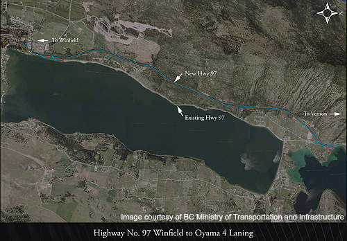 The highway 97 realignment project between Winfield and Oyama along Wood Lake began in July 2011.