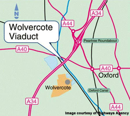 The A34 Wolvercote viaduct is being replaced.
