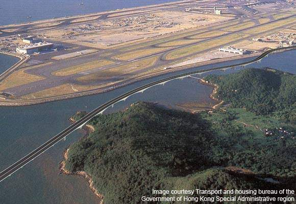 Aerial view of the proposed Hong Kong Zhuhai Macau Bridge.