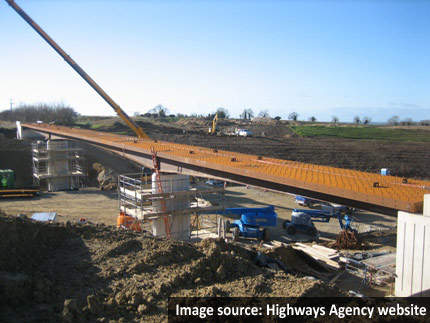 Construction work at the Widhill Lane bridleway bridge.