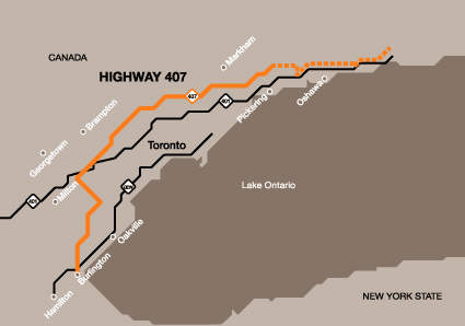 The 407 ETR runs east-west just north of Toronto (Canada's largest city), from QEW to Highway 7, a total of 108km.