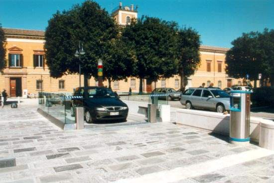 Loading bay for the underground parking system in the Piazza Fabbri, Cesena, Italy.
