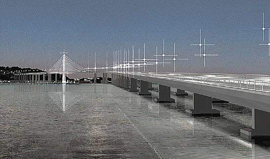 A view of the new eastern span of the San Francisco-Oakland Bay Bridge from the shore.
