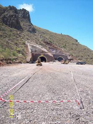El Bicho Tunnel consists of two parallel pipes, which cross approximately 1km through the Hoia Mountain in the Santiago del Teide Valley of Tenerife Island of Spain.