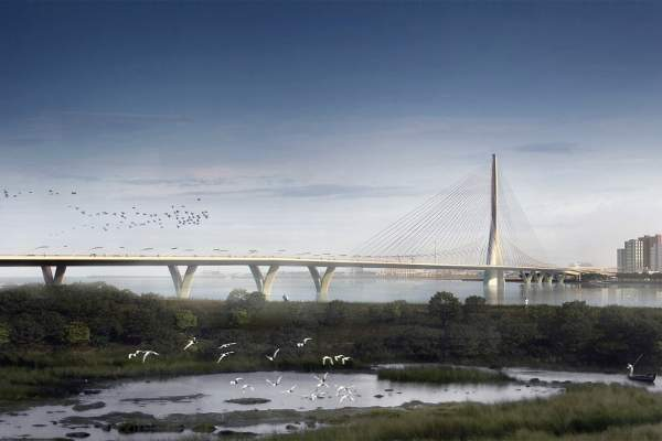 A single-tower, cable-stayed bridge will be constructed on the Tamsui River in Taipei, Taiwan. Image: Danjiang Bridge by Zaha Hadid Architects, render by VisualArch.