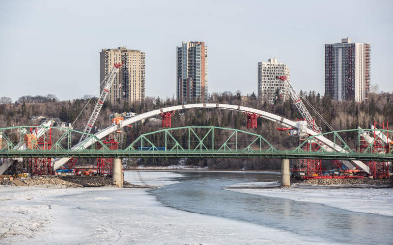 The Walterdale Bridge was  opened for traffic in September 2017. Image courtesy of IQRemix.