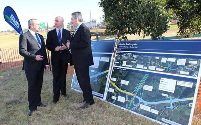 The first phase of construction on the Narellan Road upgrade project began in July 2014. Image: courtesy of Russell Matheson MP.