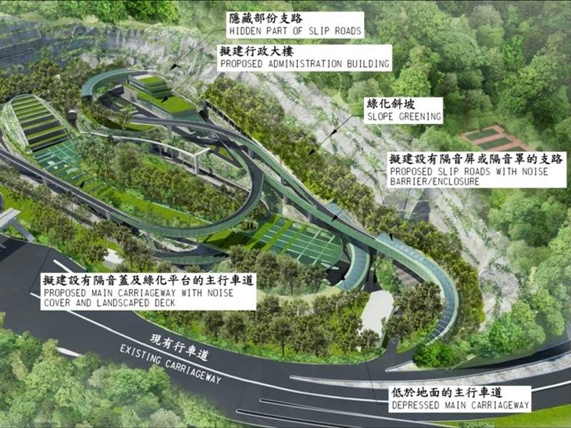 The TKO-LTT project involves the construction of an approximately 4.2km-long dual two-lane carriageway, primarily integrating a 2.2km road tunnel. Credit: Civil Engineering and Development Department (CEDD).