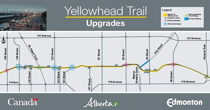 The Yellowhead Trail project transforms the 25km-long expressway into a freeway without traffic signals. Image courtesy of Government of Alberta.