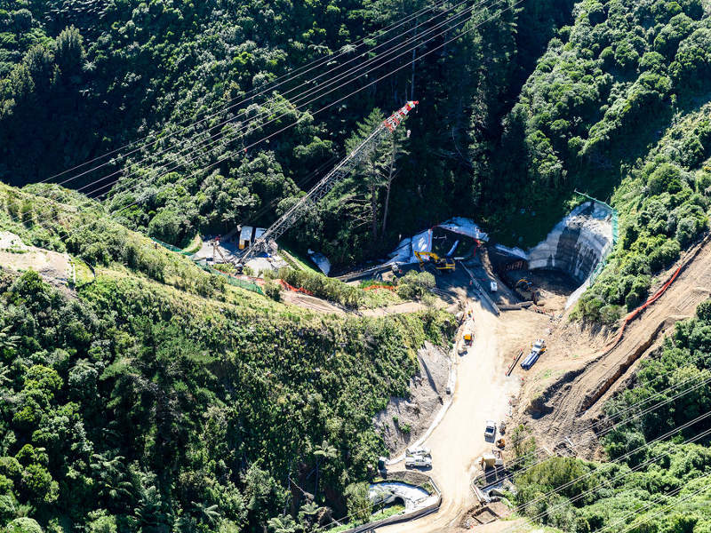 Construction of the Transmission Gully project began in late-2014. Image courtesy of NZ Transport Agency.