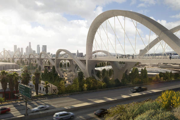"""The new bridge will incorporate HNTB's """"Ribbon of Light"""" design concept matching a series of bridges over the Los Angeles River."""