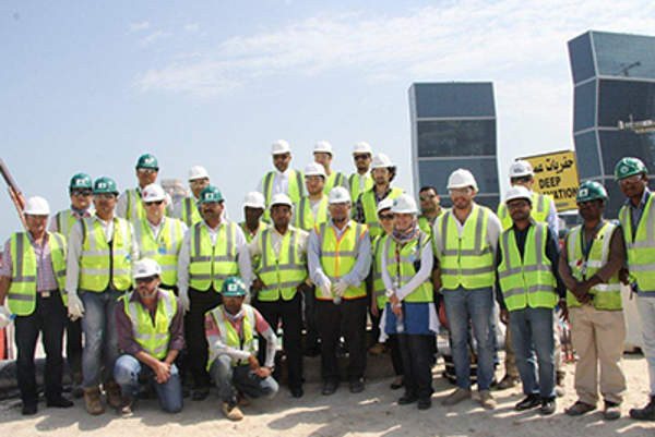 A group of journalists from the local media visited the Lusail Expressway project site in February 2014 to watch the progress achieved.
