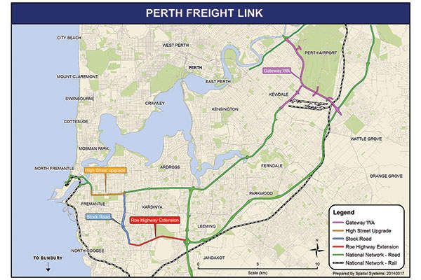 The Perth Freight Link is a dedicated freight connection between the industrial areas of Perthand Fremantle Port. Source: The Commonwealth of Australia.