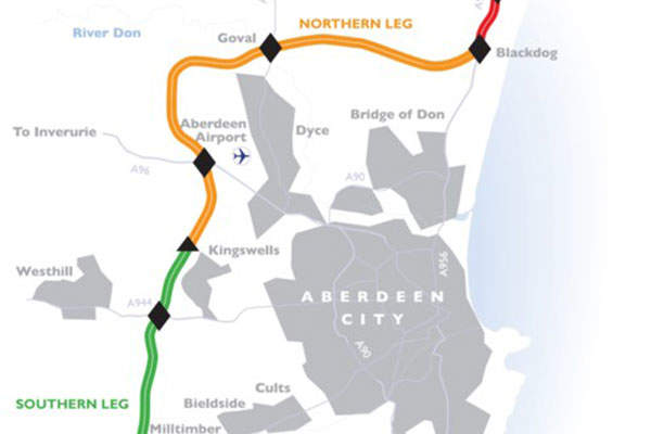 The route map of Aberdeen Western Peripheral Route from Balmedie to Tipperty road section. Image: courtesy of Balfour Beatty.