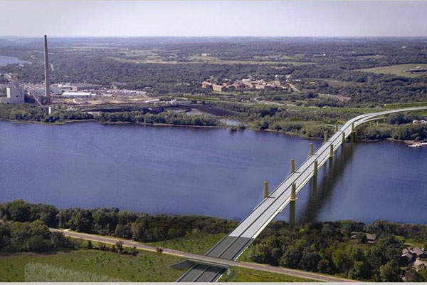 Artist's rendering showing the aerial view of St Croix river crossing. Image: courtesy of Minnesota Department of Transportation.