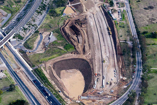 An aerial view of the Bringelly Road upgrade site. Image: courtesy of Roads and Maritime Services.
