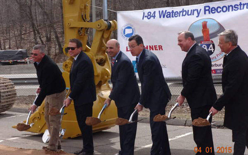 The ground breaking ceremony for the I-84 widening project was held on 1 April 2015 and was attended by governor Malloy, senator Joan Hartley, CTDOT commissioner Redeker and CTDOT staff. Image: courtesy of Aecom.