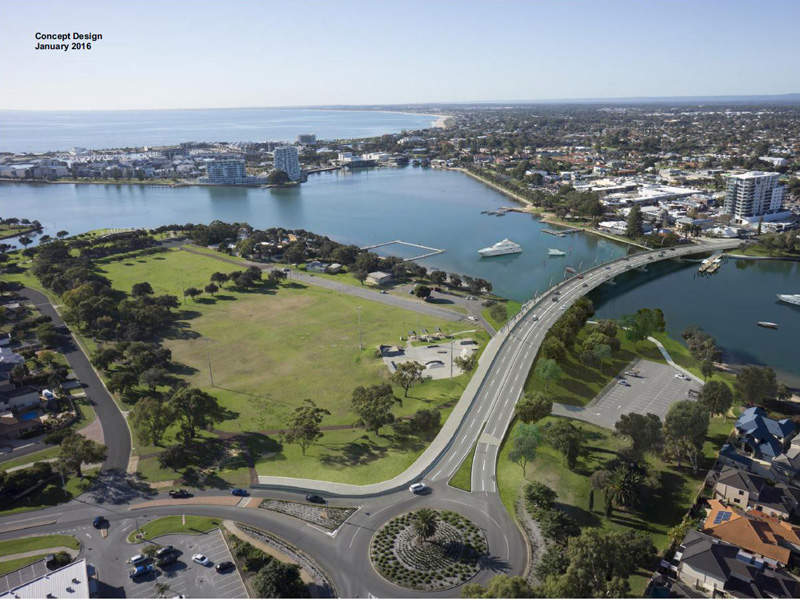 The Old Mandurah Traffic bridge replacement project will be completed by the end of 2017. Image courtesy of Government of Western Australia.