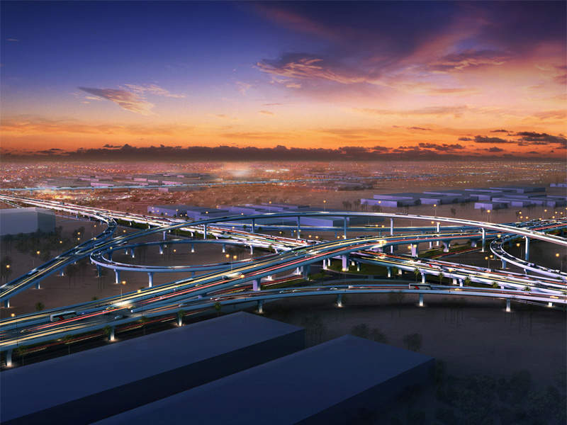 Jamal Abdul Nasser St. Development Project is an ongoing rehabilitation project and one of the world's biggest multi-level road projects. Image courtesy of Weber Shandwick.