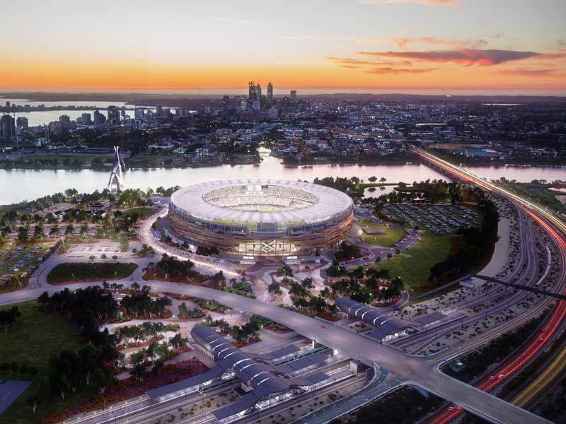 Matagarup Bridge connects the Perth Stadium with public transport and car parks in East Perth and the central business district (CBD). Image courtesy of Perth Stadium.