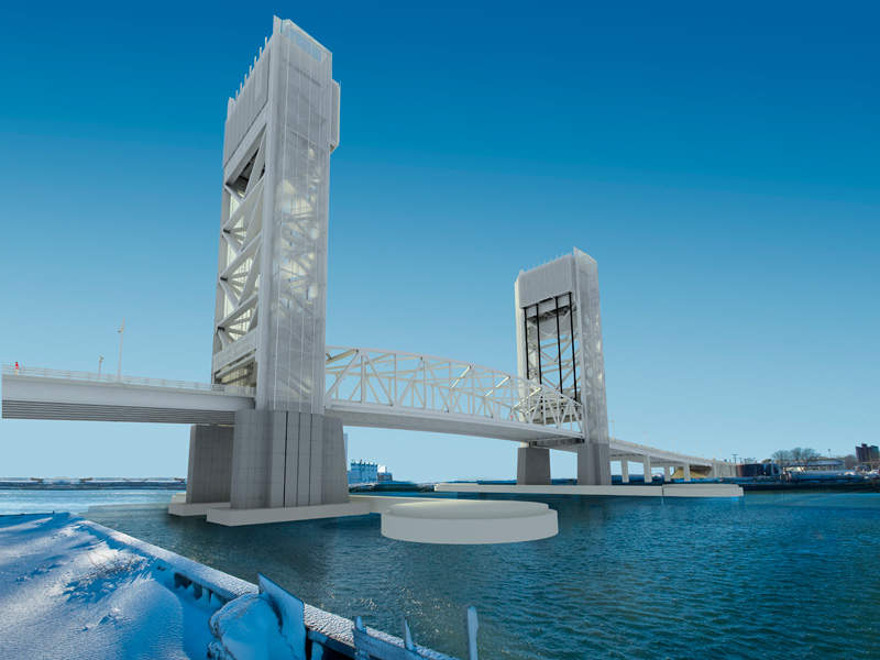 Artist's rendering of the new Fore River replacement bridge. Image courtesy of Commonwealth of Massachusetts.