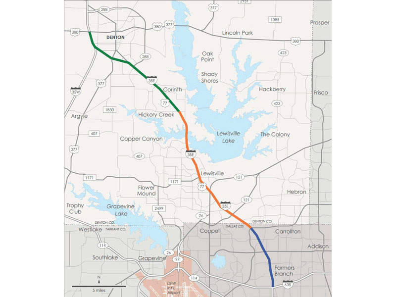The 35Express project will widen the road network from Denton to Dallas. Image courtesy of AGL Constructors.