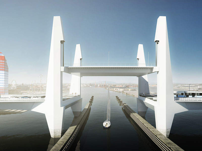 The Hisingsbron Bridge will feature a central lifting span at the centre. Image: courtesy of Mattias Henningsson-Jönsson.