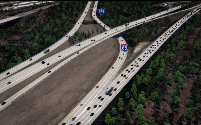 Intestate 85 (I-85) toll lanes extension in Gwinnett County began in August 2016. Image courtesy of Georgia Department of Transportation.
