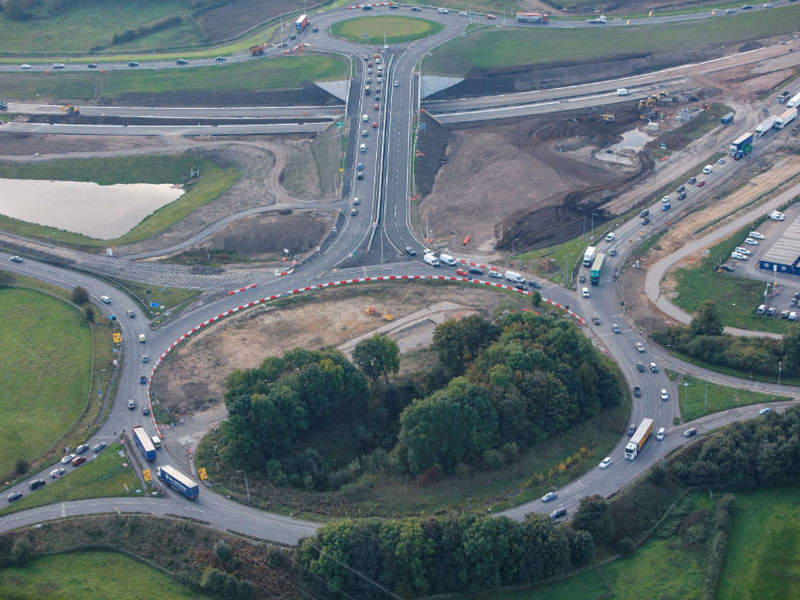 An image showing the new roundabout arrangements and M56 link roads at Bowdon. Image: Crown copyright.
