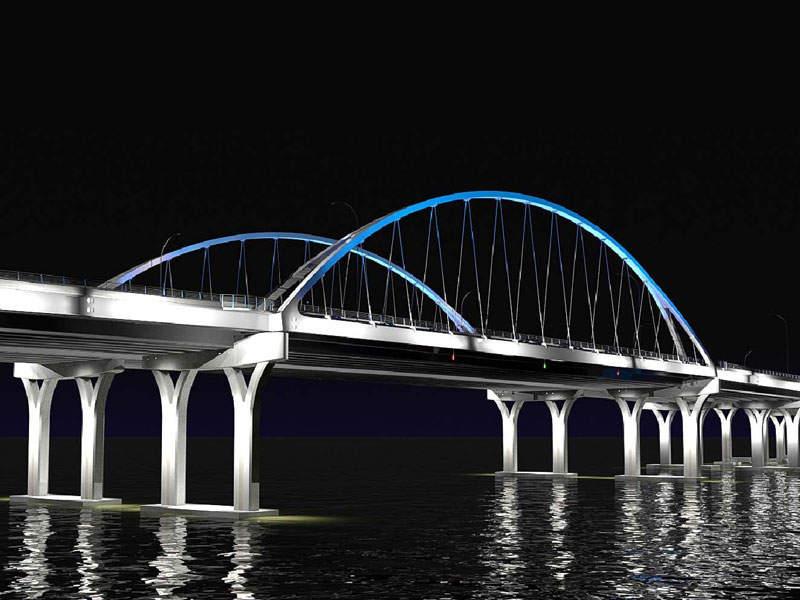 A rendering showing the new Pensacola Bay Bridge at night. Image courtesy of Skanska.