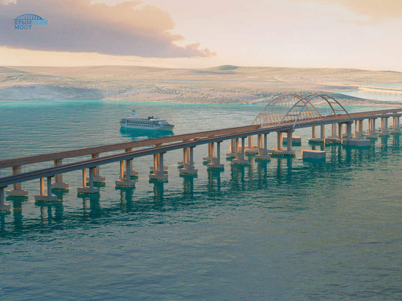 The Kerch Bridge is a 19km road-rail bridge being constructed between Kerch Peninsula in Ukraine and Russia's Taman Peninsula. Image courtesy of Most.life.