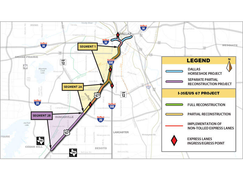 The Southern Gateway project proposes improvements along the I-35E/US 67 corridor. Image courtesy of Fluor Corporation.