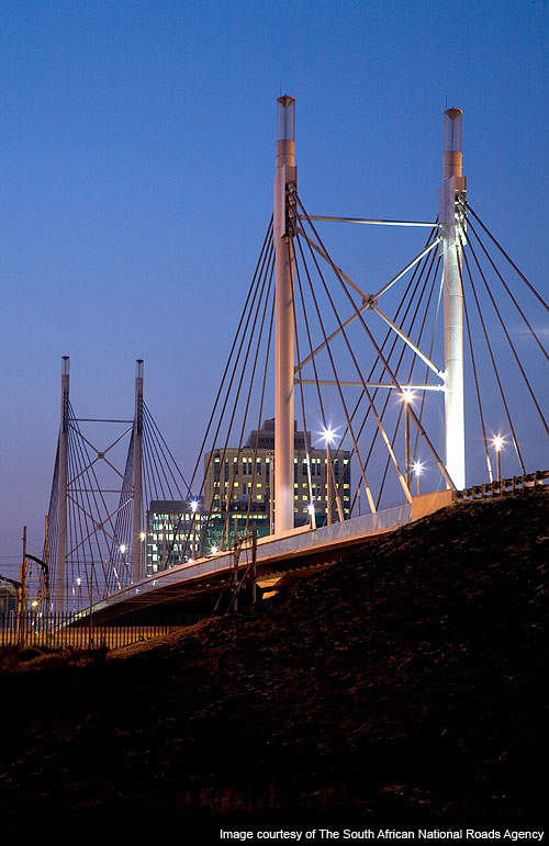 The Nelson Mandela Bridge carries two traffic lanes.