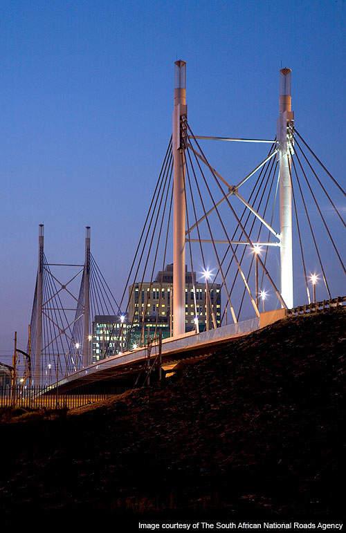 The Nelson Mandela Bridge carries two traffic lanes.