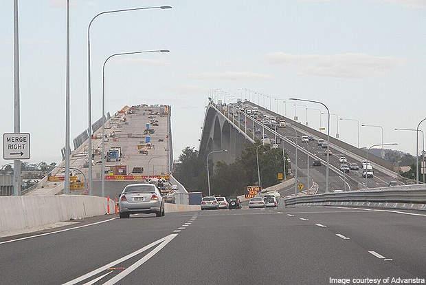The twin bridge under construction.
