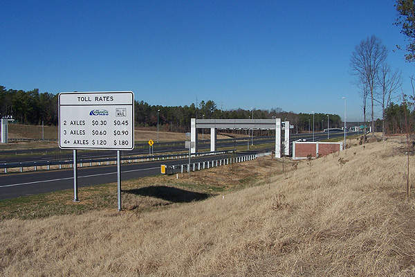 Actual tolling on the Triangle Parkway began in January 2012. Image courtesy of N.C. Department of Transportation.