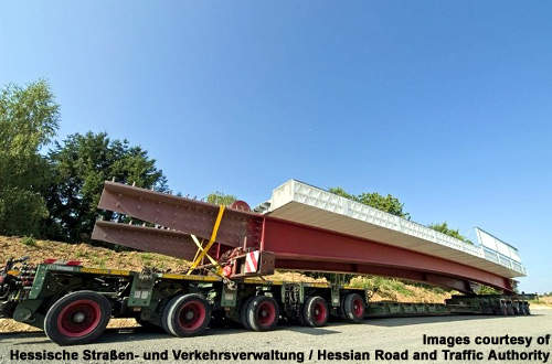 The bridge is prefabricated and transported to the location.