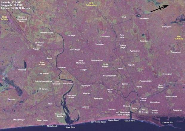 A Chennai / Marina beach area satellite map.