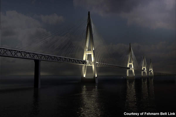 Computer image of a cable-stayed bridge at night.
