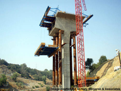 The Folsom dam bridge is a segmental cast-in-place concrete structure.