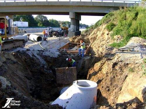Drainage structure installation on the eastbound I-90 near Spring Creek Road.